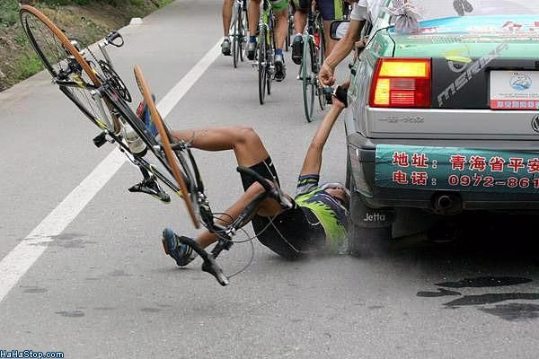 bike-crash-arm-under-car